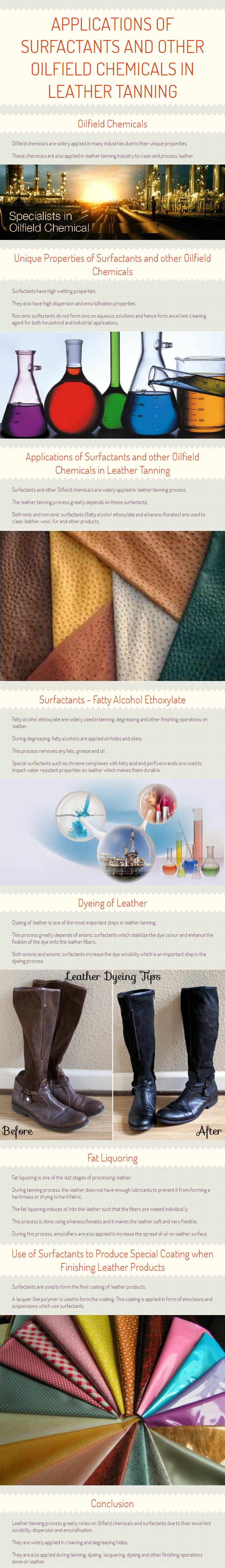 Applications of surfactants and Oilfield chemicals in Leather Tanning